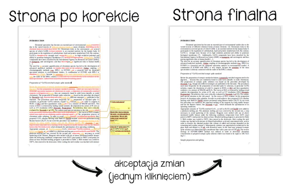 Korekta tekstu angielskiego - śledzenie zmian